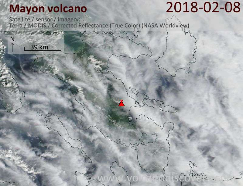 Satellite image of Mayon volcano on  8 Feb 2018