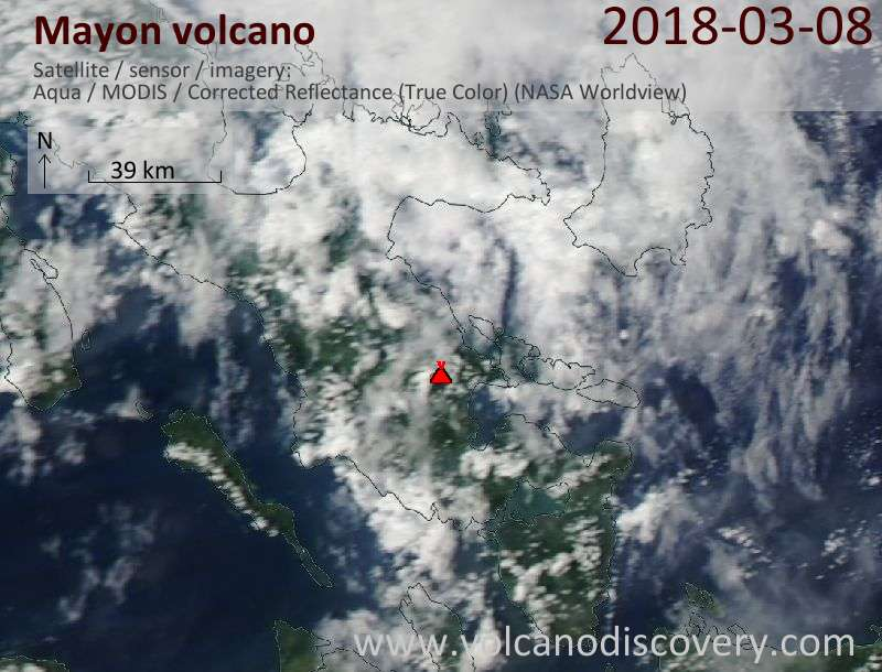 Satellite image of Mayon volcano on  8 Mar 2018