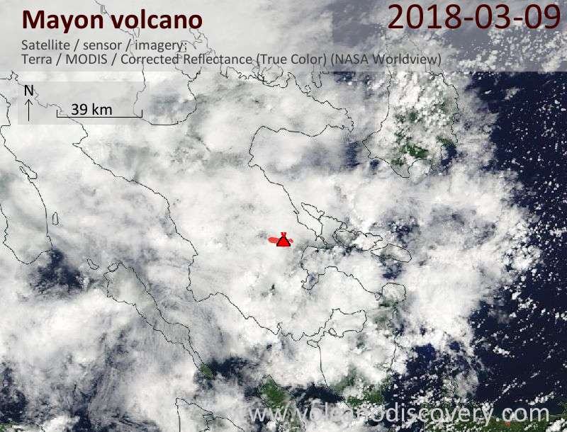 Satellite image of Mayon volcano on  9 Mar 2018