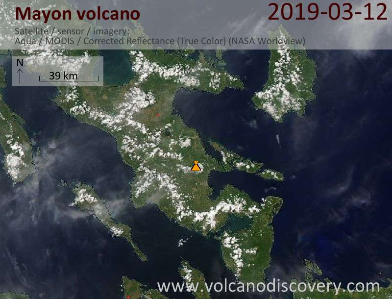 Satellitenbild des Mayon Vulkans am 13 Mar 2019