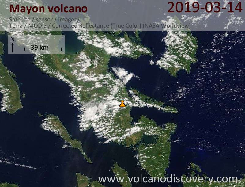 Satellitenbild des Mayon Vulkans am 14 Mar 2019