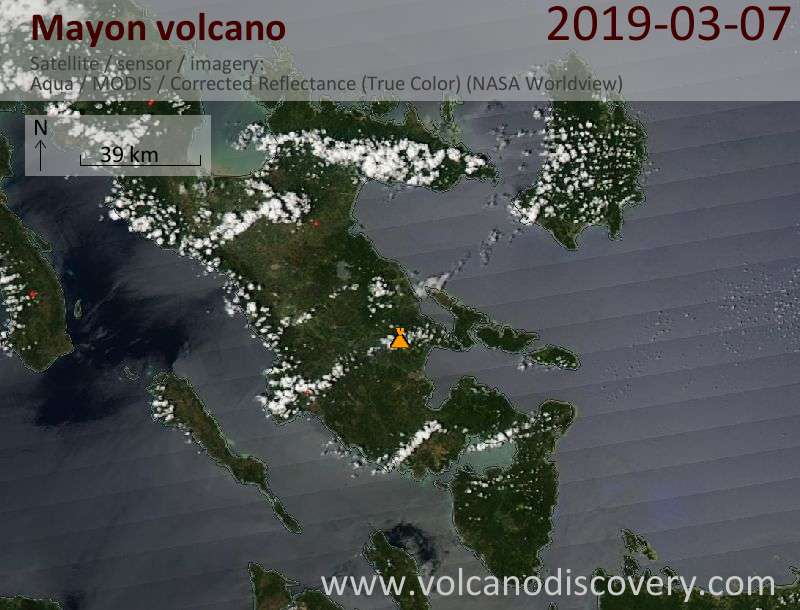 Satellitenbild des Mayon Vulkans am  7 Mar 2019