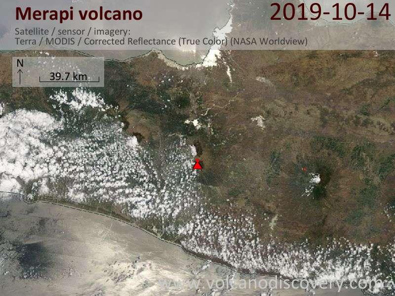 Satellite image of Merapi volcano on 14 Oct 2019