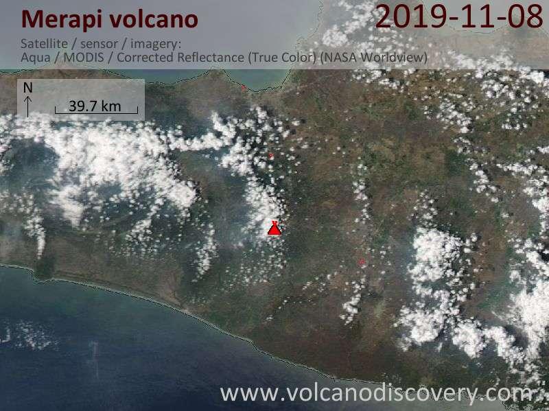 Satellite image of Merapi volcano on  9 Nov 2019