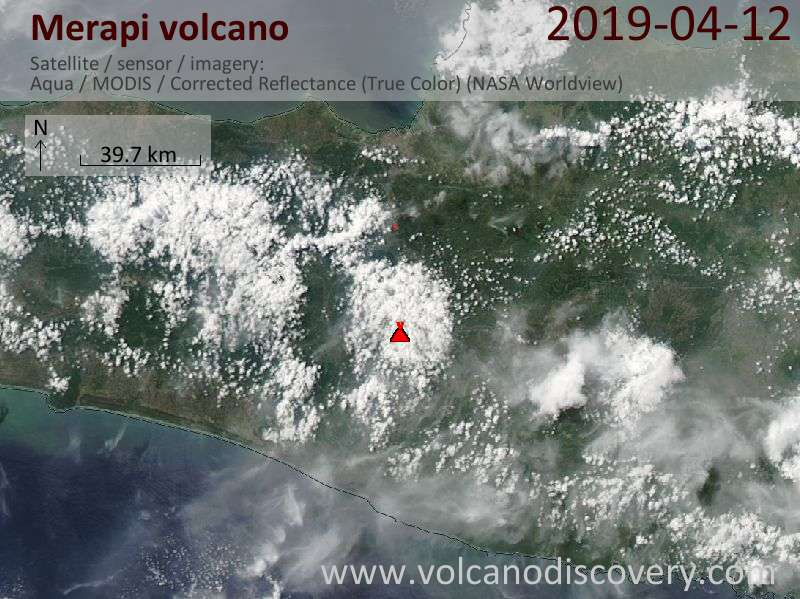 Satellite image of Merapi volcano on 12 Apr 2019