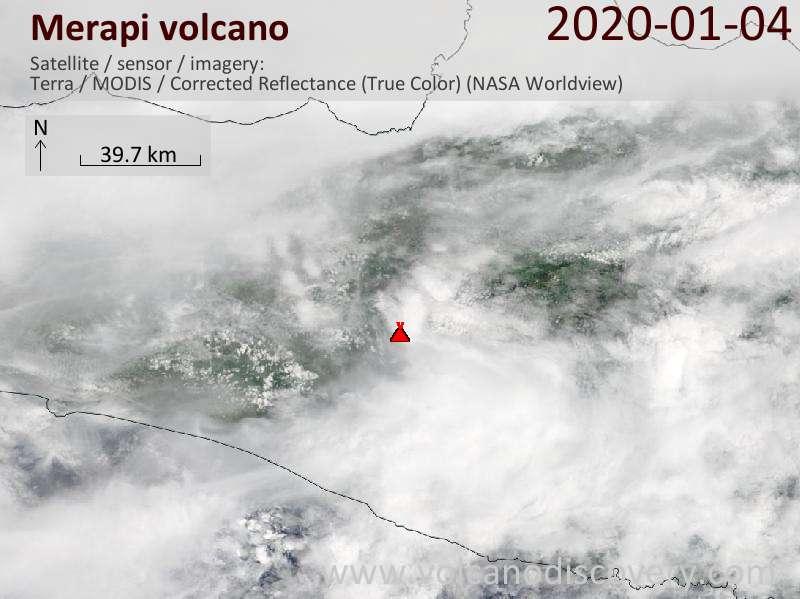 Satellite image of Merapi volcano on  4 Jan 2020