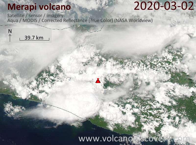 Satellite image of Merapi volcano on  2 Mar 2020