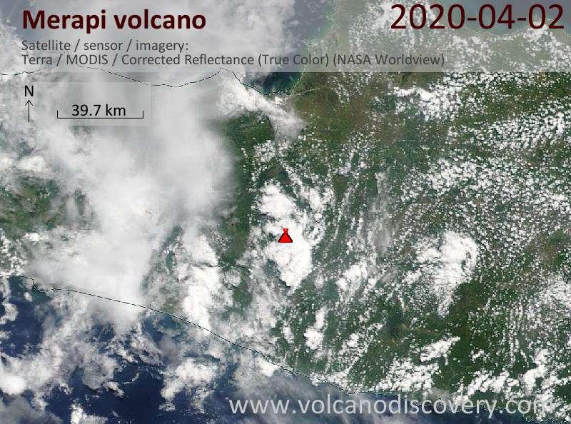 Satellite image of Merapi volcano on  2 Apr 2020
