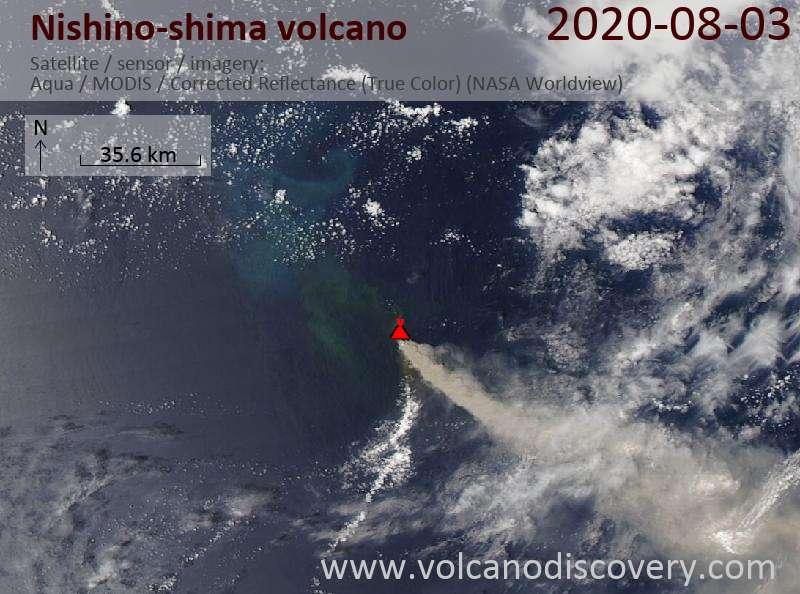 Satellite image of Nishino-shima volcano on  4 Aug 2020
