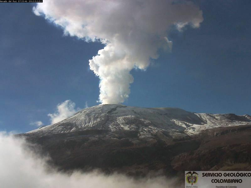 Nevado del Ruiz on the morning of 3 Oct (INGEOMINAS)