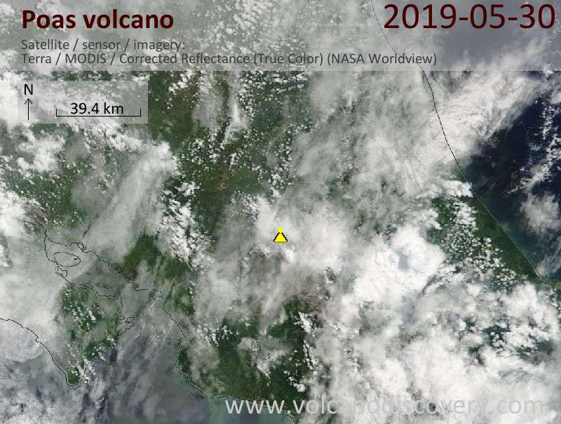 Satellite image of Poas volcano on 30 May 2019