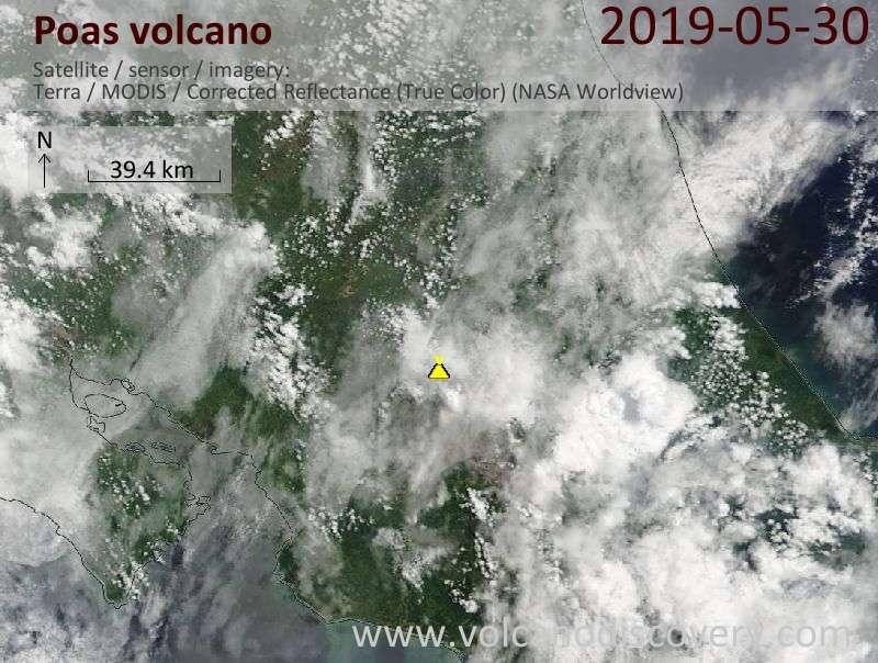 Спутниковое изображение вулкана Poas 30 May 2019