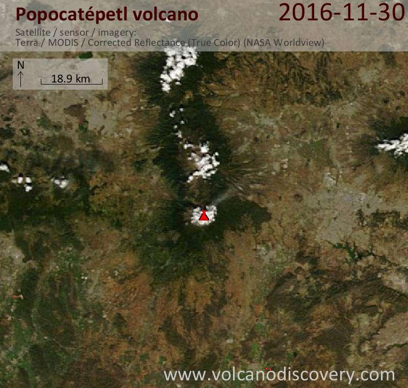 Satellite image of Popocatépetl volcano on 30 Nov 2016