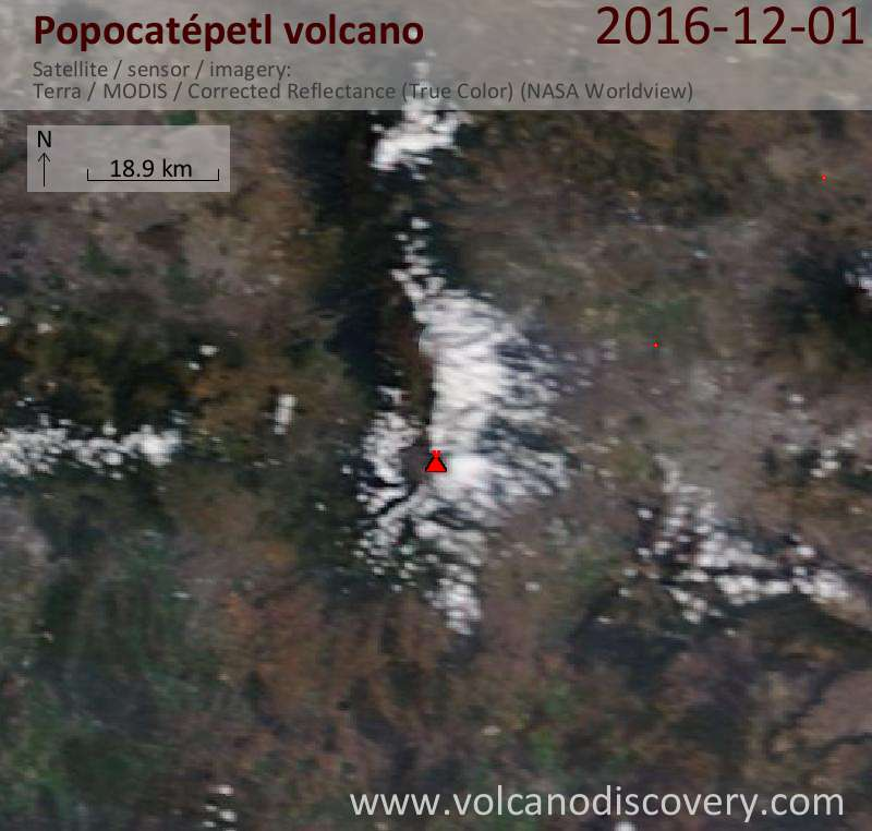 Satellite image of Popocatépetl volcano on  1 Dec 2016