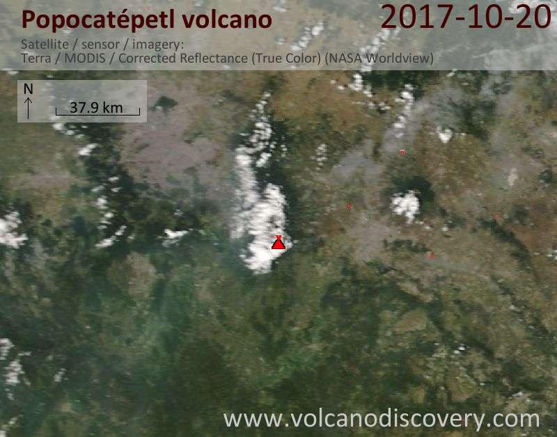 Satellite image of Popocatépetl volcano on 20 Oct 2017