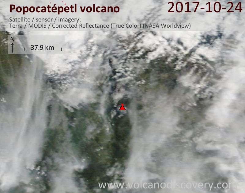 Satellite image of Popocatépetl volcano on 24 Oct 2017