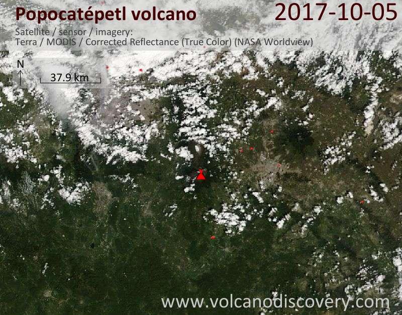 Satellite image of Popocatépetl volcano on  6 Oct 2017