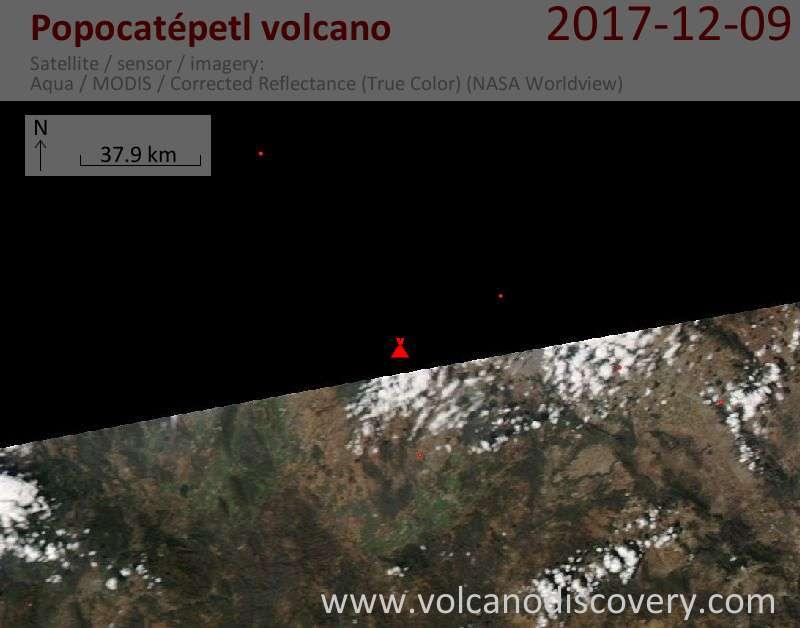 Satellite image of Popocatépetl volcano on  9 Dec 2017