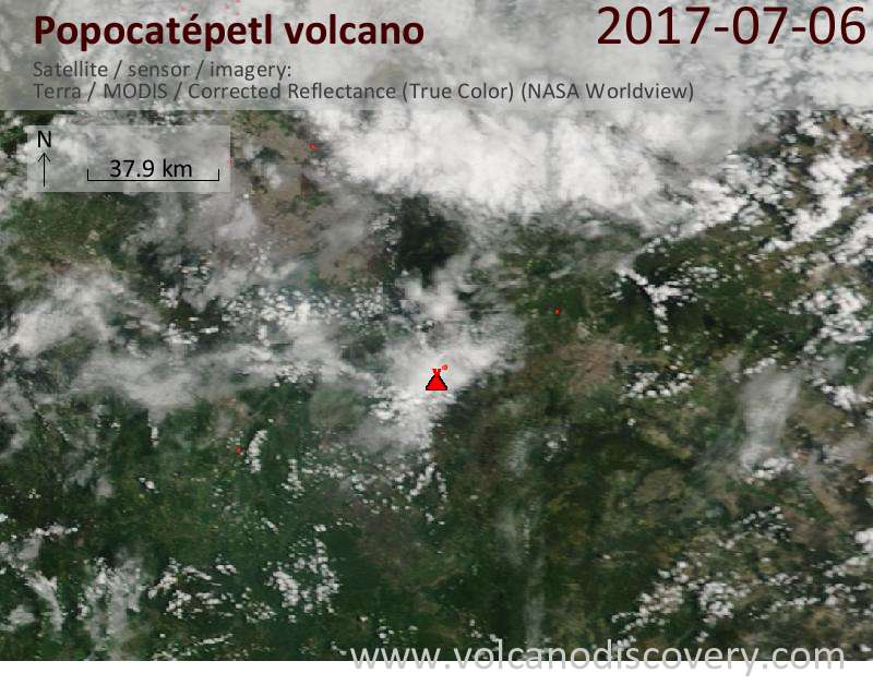 Satellite image of Popocatépetl volcano on  7 Jul 2017