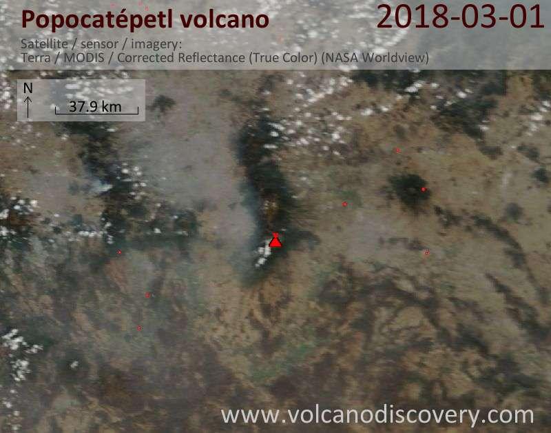 Satellite image of Popocatépetl volcano on  1 Mar 2018