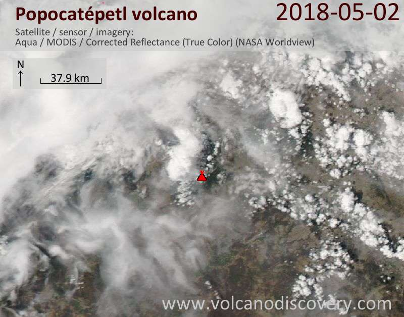 Satellite image of Popocatépetl volcano on  2 May 2018