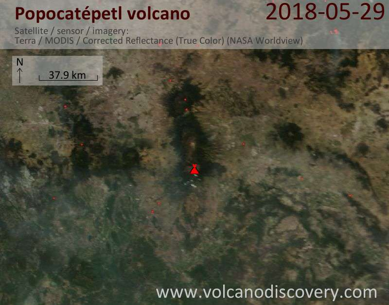 Satellite image of Popocatépetl volcano on 29 May 2018
