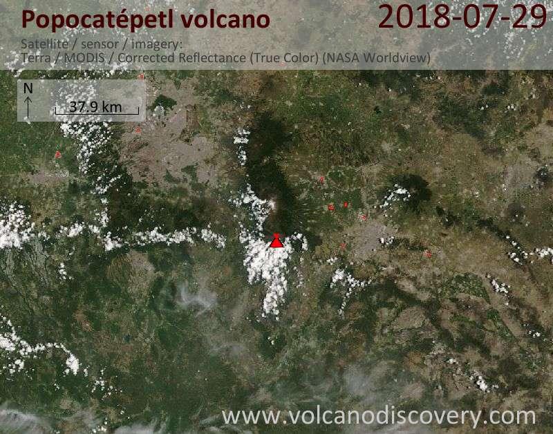 Satellite image of Popocatépetl volcano on 27 Jul 2018