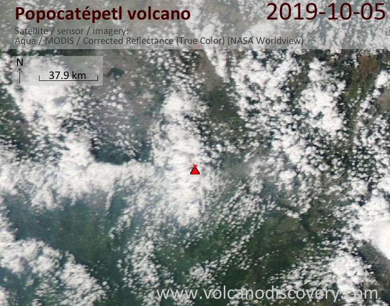 Satellite image of Popocatépetl volcano on  6 Oct 2019