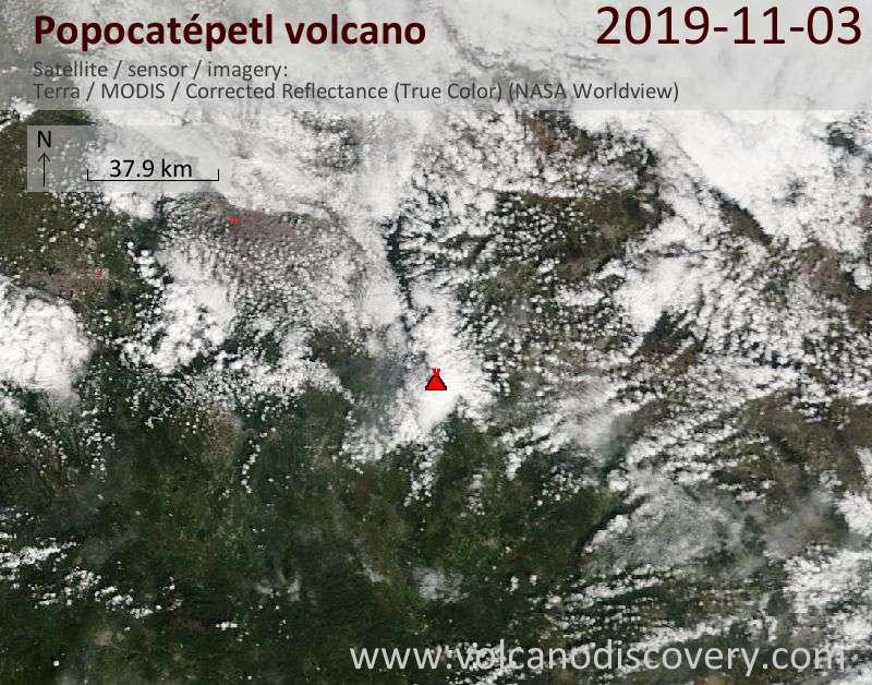 Satellitenbild des Popocatépetl Vulkans am  3 Nov 2019
