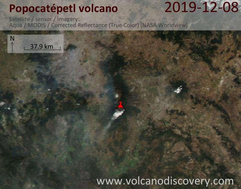 Satellite image of Popocatépetl volcano on  9 Dec 2019