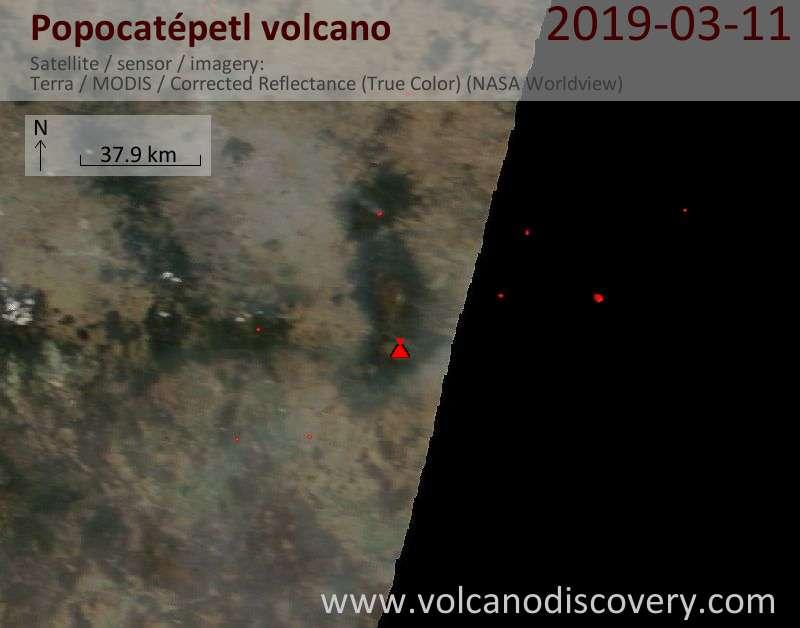 Satellite image of Popocatépetl volcano on 11 Mar 2019