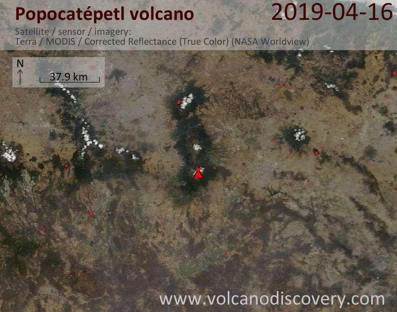Satellitenbild des Popocatépetl Vulkans am 16 Apr 2019