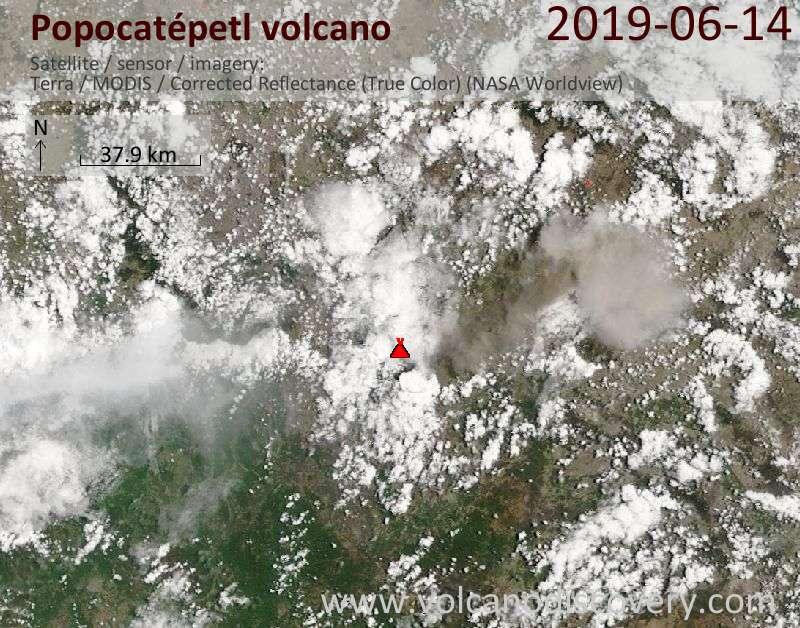 Satellite image of Popocatépetl volcano on 14 Jun 2019