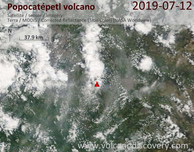 Satellite image of Popocatépetl volcano on 12 Jul 2019