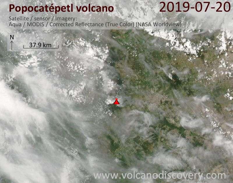 Satellite image of Popocatépetl volcano on 21 Jul 2019