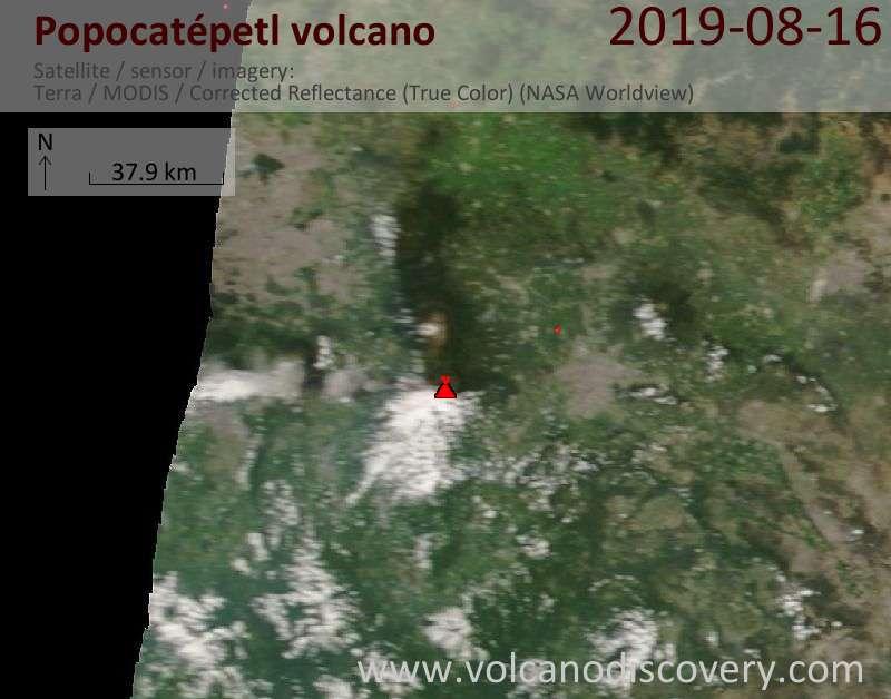 Satellite image of Popocatépetl volcano on 17 Aug 2019