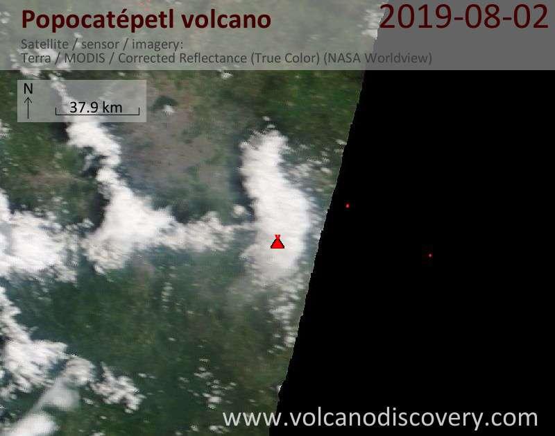 Satellite image of Popocatépetl volcano on  2 Aug 2019