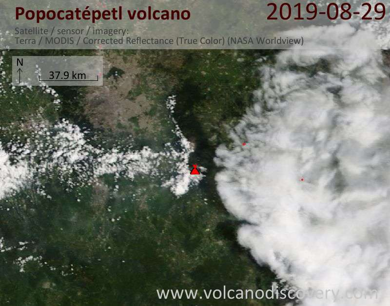 Satellite image of Popocatépetl volcano on 29 Aug 2019