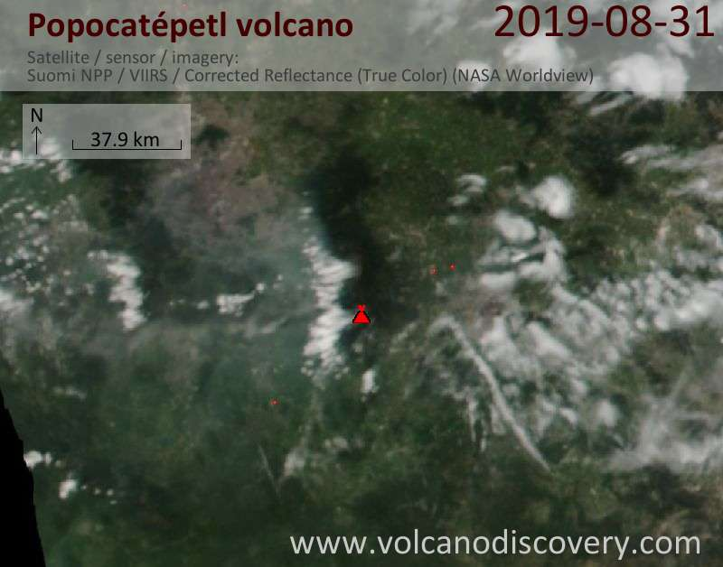 Satellite image of Popocatépetl volcano on  1 Sep 2019