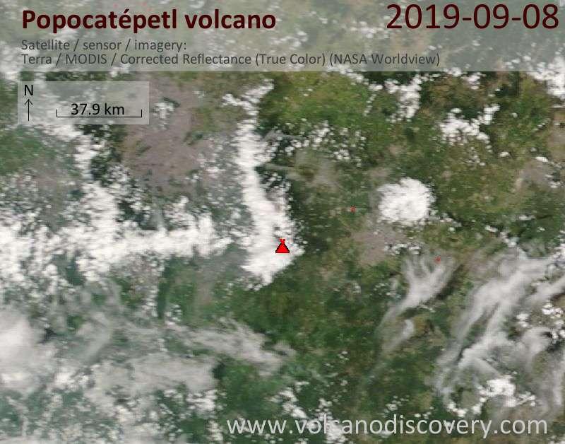Спутниковое изображение вулкана Popocatépetl  8 Sep 2019
