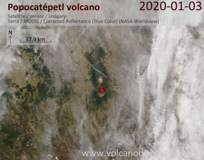 Satellitenbild des Popocatépetl Vulkans am  3 Jan 2020