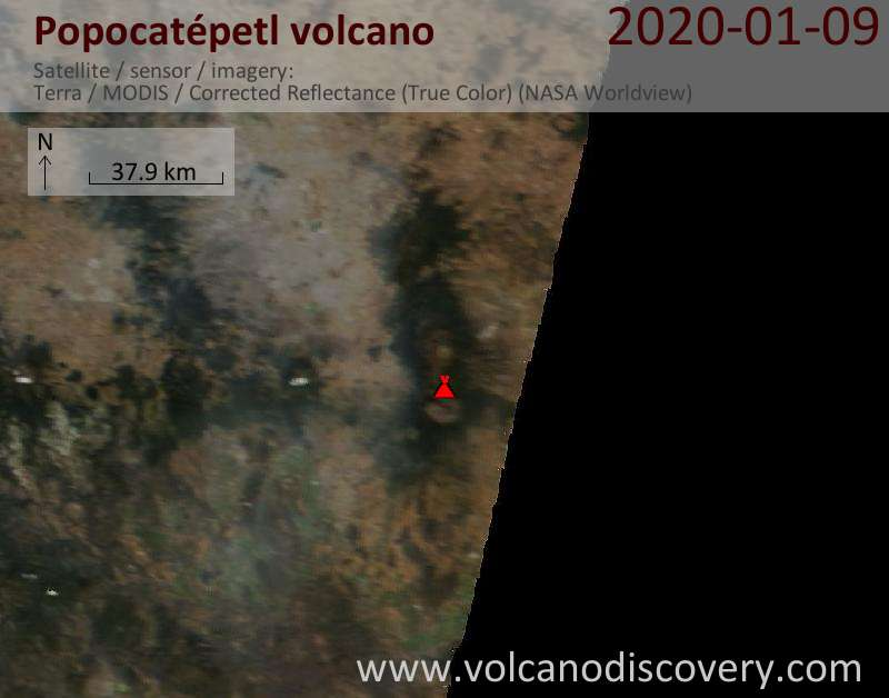 Satellitenbild des Popocatépetl Vulkans am  9 Jan 2020
