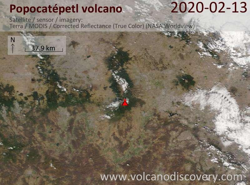 Спутниковое изображение вулкана Popocatépetl 14 Feb 2020