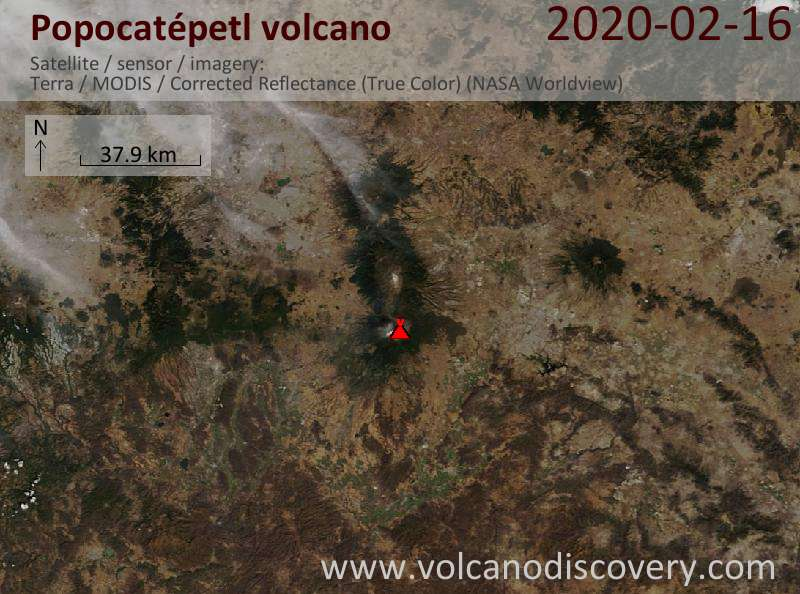 Satellitenbild des Popocatépetl Vulkans am 16 Feb 2020