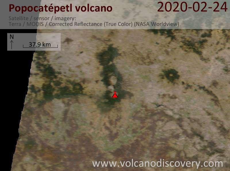 Satellitenbild des Popocatépetl Vulkans am 24 Feb 2020