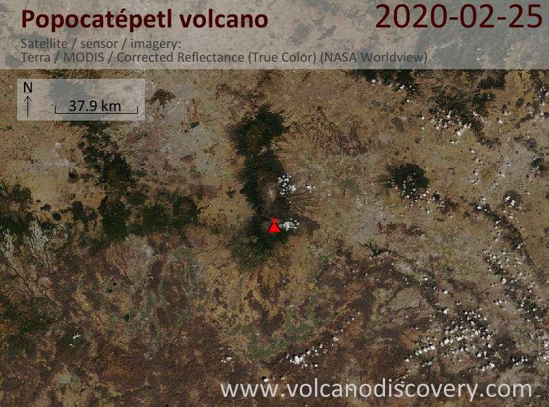 Satellite image of Popocatépetl volcano on 26 Feb 2020