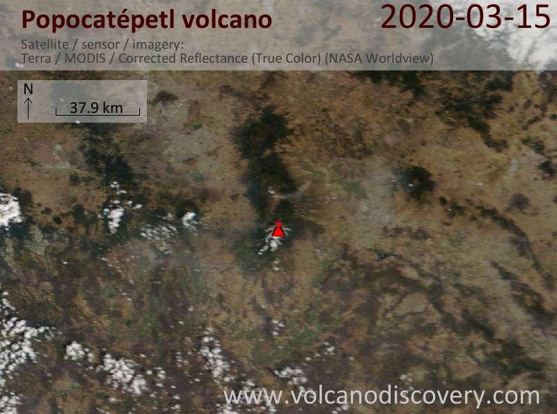Satellite image of Popocatépetl volcano on 15 Mar 2020