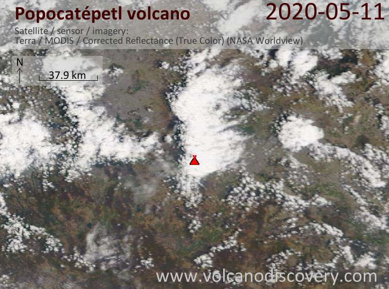 Satellite image of Popocatépetl volcano on 11 May 2020
