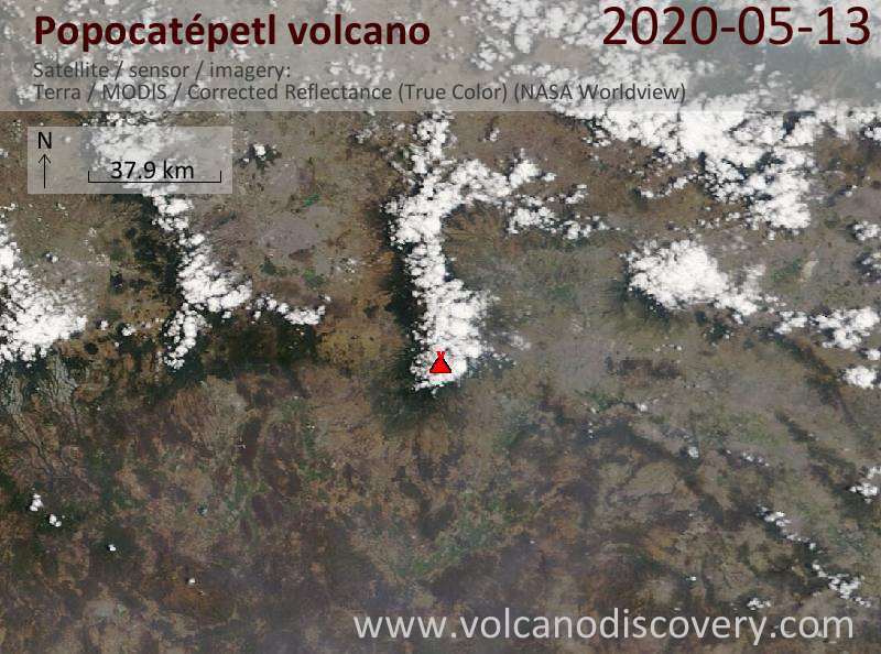 Satellite image of Popocatépetl volcano on 13 May 2020