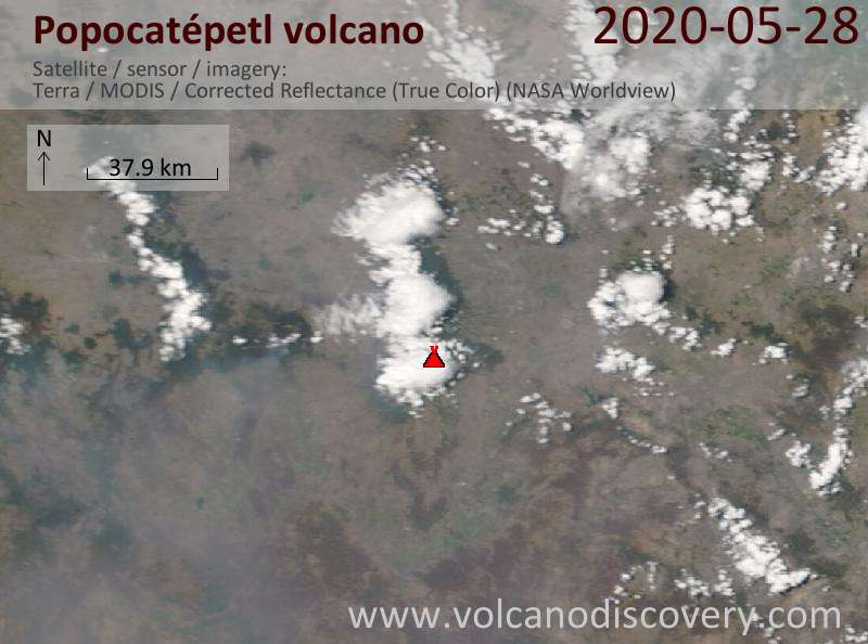 Спутниковое изображение вулкана Popocatépetl 28 May 2020